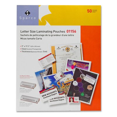 """Sparco Products Laminating Pouch, Letter Size, 9""""x11-1/2"""", 3 mil, 50 per Box, CL"""