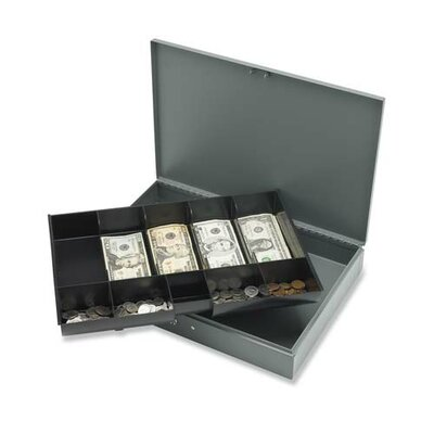 """Sparco Products Cash Box, w/ 2 Keys, 10 Compartments, 12""""x19""""x3-3/4"""", Gray"""