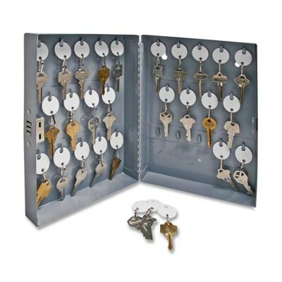 """Sparco Products Secure Key Cabinet, 10""""x3""""x12"""", 28 Keys, Gray"""