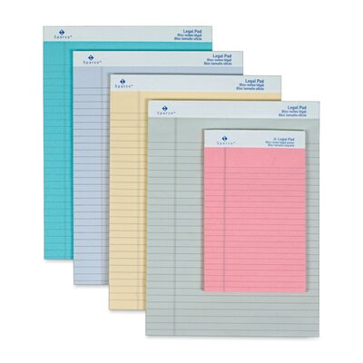 "Sparco Products Colored Pad, Legal Rule, 8-1/2""x11-3/4"", 50 Sheets, 12-Pack"