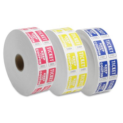 Sparco Products Ticket Roll, Double w/Coupon, 2000/RL, Red