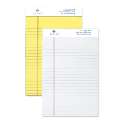 "Sparco Products Pad, Micro-Perforated, Jr. Legal Ruled, 5""x8"", Canary/White, 50 Sheets, 12-Pack"