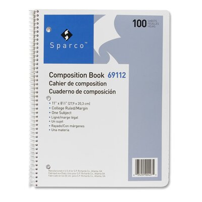 """Sparco Products Composition Book, 100 Sheets, College Ruled, 11""""x8-1/2"""", White"""