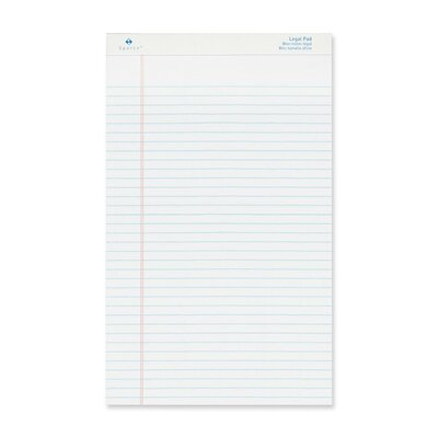 """Sparco Products Legal Ruled Pad, Micro-Perforated, Legal, 8-1/2""""x14"""", Canary/White, 50 Sheets, 12-Pack"""