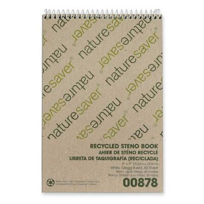 Nature Saver Recycled Steno Book, White
