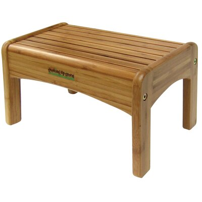 Ginsey 1-Step Wood Growing Up Green Step Stool with 200 lb. Load Capacity