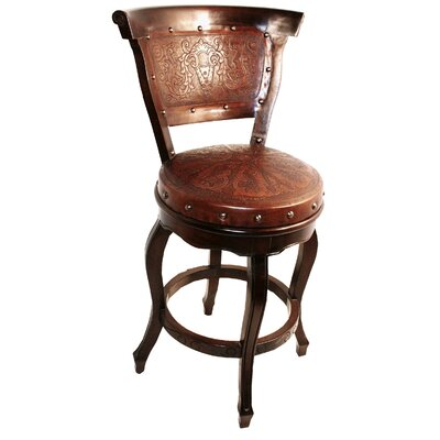 New World Trading Colonial Swivel Bar Stool with Cushion