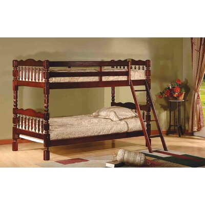 Twin Over Twin Bunk Bed with Ladder and Safety Rail by InRoom Designs