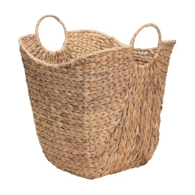 Tall Water Hyacinth Wicker Basket with Handles by Household Essentials