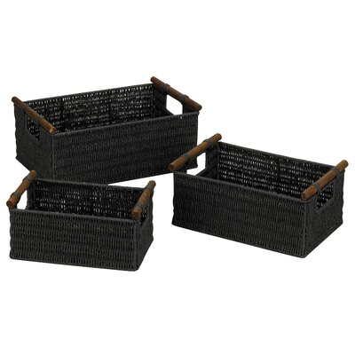 Paper Rope Baskets in Black (Set of 3) by Household Essentials