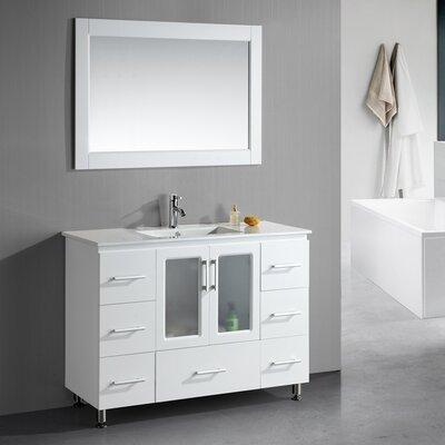 "Design Element Milan Stanton 48"" Single Modern Bathroom Vanity Set with Mirror"