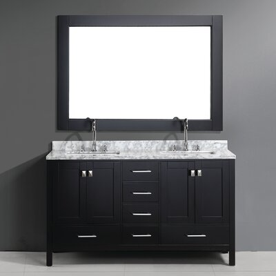 "London 60.75"" Double Bathroom Vanity Set with Mirror Product Photo"