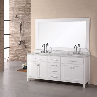 "London 72"" Double Bathroom Vanity Set with Mirror Product Photo"