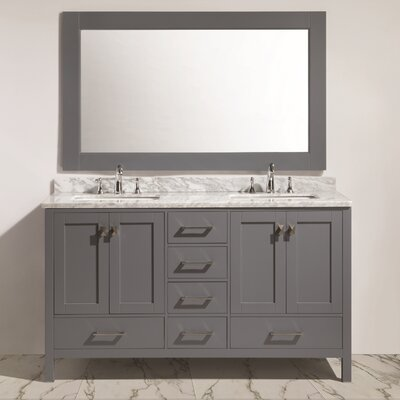 "London 60"" Double Sink Vanity Set with Mirror Product Photo"