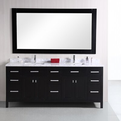 "London 78"" Double Bathroom Vanity Set with Mirror Product Photo"