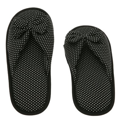 Dots Printed Cotton Women Memory Foam Foot Bed Slipper by Deluxe Comfort