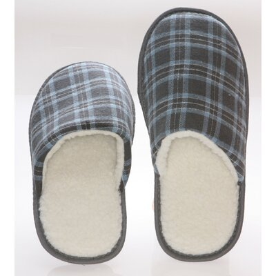 Checkered Cotton Wool Fleece Lining Mens House Slippers by Deluxe Comfort