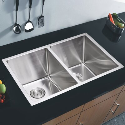 "Water Creation SS-U-3118A 31"" X 18"" 50/50 Double Bowl Stainless Steel Hand Made Undermount Kitchen Sink With Coved Co... Product Photo"