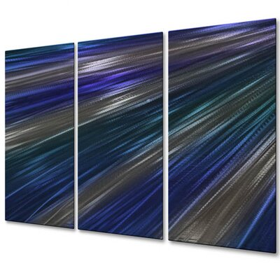 All My Walls 'Blue Rays Of Light IV' by Ash Carl 3 Piece Original Painting on Metal Plaque Set