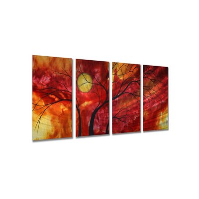 All My Walls 'Burning Crimson' by Megan Duncanson 4 Piece Original Painting on Metal Plaque Set