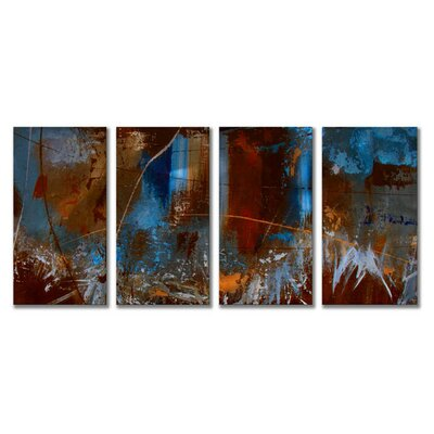 'Urban Feel' by Ruth Palmer 4 Piece Original Painting on Metal Plaque Set by All ...