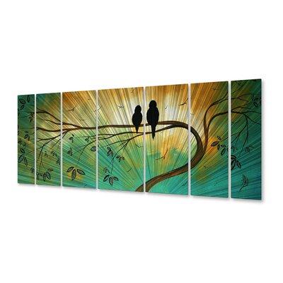 All My Walls 'Love Birds' by Megan Duncanson 7 Piece Original Painting on Metal Plaque Set