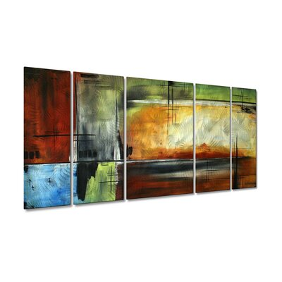 All My Walls 'On Track' by Megan Duncanson 5 Piece Original Painting on Metal Plaque Set