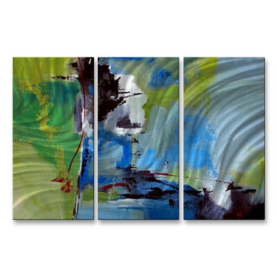 All My Walls 'All Is Not Lost' by Ruth Palmer 3 Piece Original Painting on Metal Plaque Set