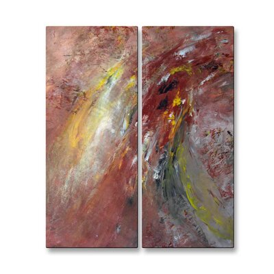 All My Walls 'Turn Around' by Mary Lea Bradley 2 Piece Original Painting on Metal Plaque Set