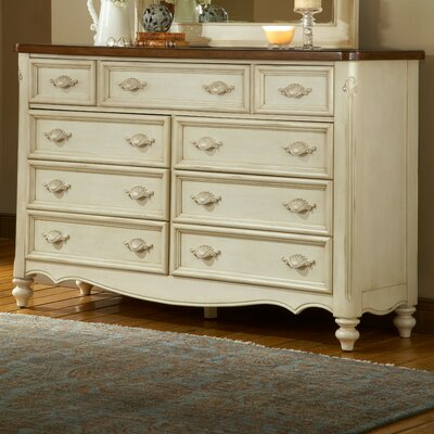 Chateau 9 Drawer Dresser with Mirror by American Woodcrafters