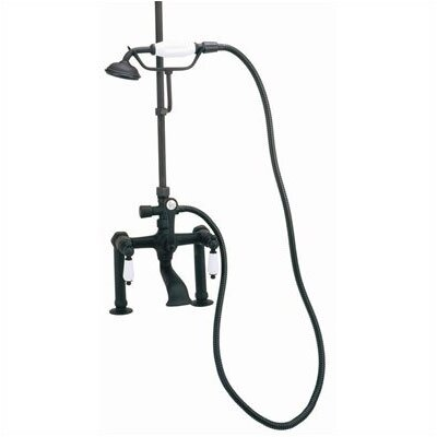 Rim Mount Volume Control Tub and Shower Faucet with Hand Shower and Porcelain Lever Handles Product Photo