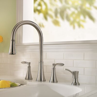 Petaluma Double Handle Deck Mounted Kitchen Faucet with Soap Dispenser Product Photo
