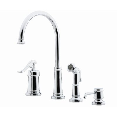 Ashfield Single Handle Deck Mounted Kitchen Faucet with Soap Lotion Dispenser and Side Spray Product Photo