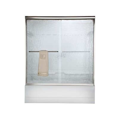 """American Standard Euro 57"""" x 60"""" Sliding Frameless Tub Door with Clear Glass"""