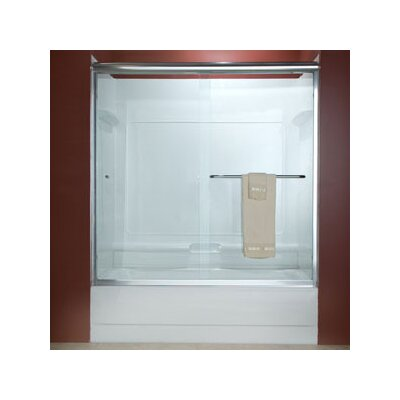 "Euro 57"" x 60"" Sliding Frameless Tub Door with Rain Glass Product Photo"