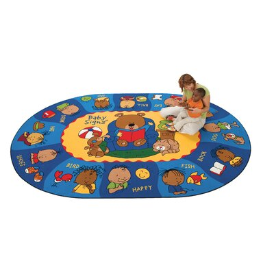 Carpets for Kids Printed Sign, Say, and Play Blue Area Rug