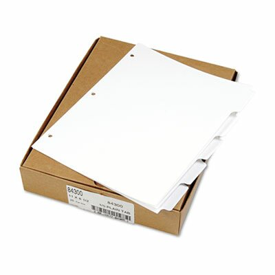 Kleer-Fax, Inc. 80000 Series Blank 1/5-Tab Divider Set, Letter, White, 25 Sets/Box