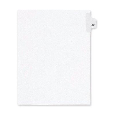 Kleer-Fax, Inc. Index Dividers,Number 80,Side Tab,1/25 Cut,Letter,25/PK,WE