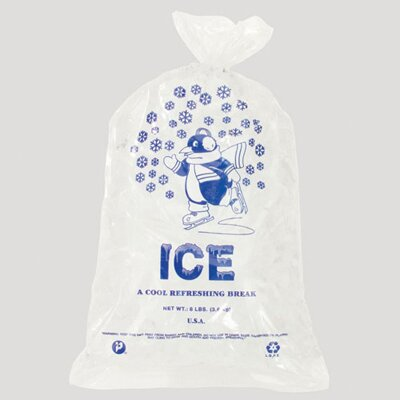 Inteplast Group 10 Pound Ice Bag, 1.50 Mil in Clear / Blue