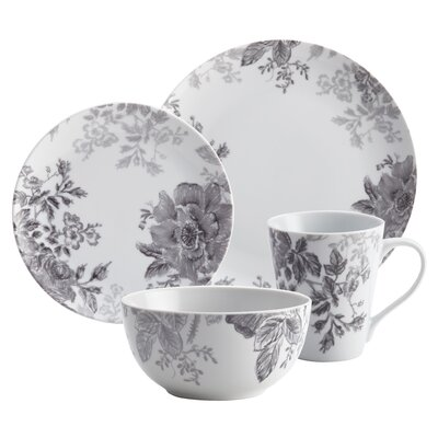 Shaded Garden 16 Piece Porcelain Dinnerware Set by BonJour
