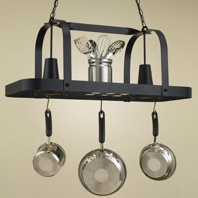 Baker Rectangular Hanging Pot Rack with 2 Lights by Hi-Lite