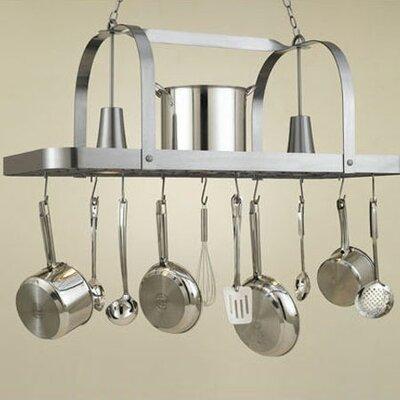 Baker Large Rectangular Pot Rack with 2 Lights by Hi-Lite