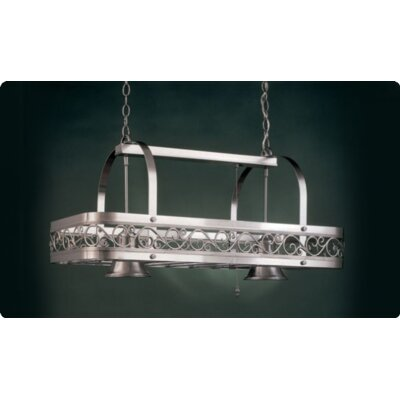 Odysee Rectangular Hanging Pot Rack with 2 Lights by Hi-Lite