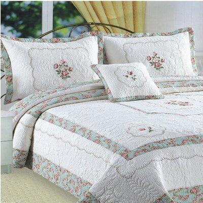 Kona Flower Embroidery Quilt Standard Sham by J&J Bedding