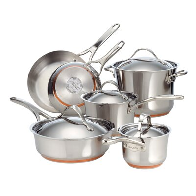 Nouvelle Copper Stainless Steel 10 Piece Cookware Set by Anolon