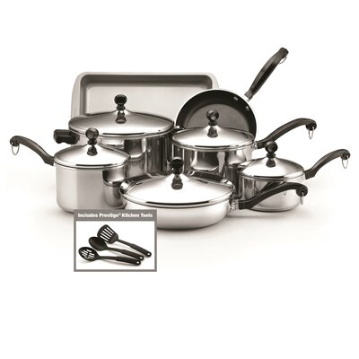Classic 12 Piece Non-Stick Stainless Steel Cookware Set by Farberware