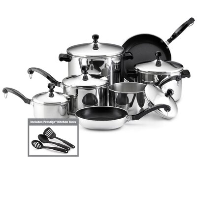 Classic Stainless Steel 15-Piece Cookware Set by Farberware