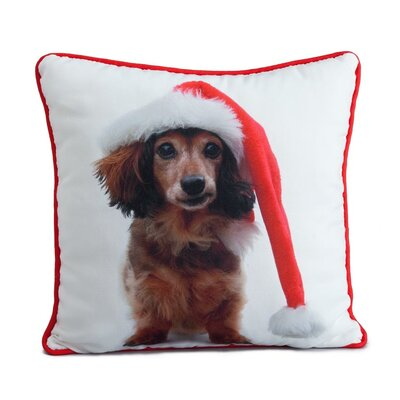 Holiday Daschund Throw Pillow by lava