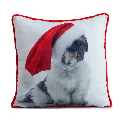 Holiday Shitzu Throw Pillow by lava