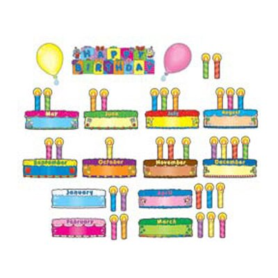 Frank Schaffer Publications/Carson Dellosa Publications Birthday Cakes Mini Bulletin Board Cut Out Set